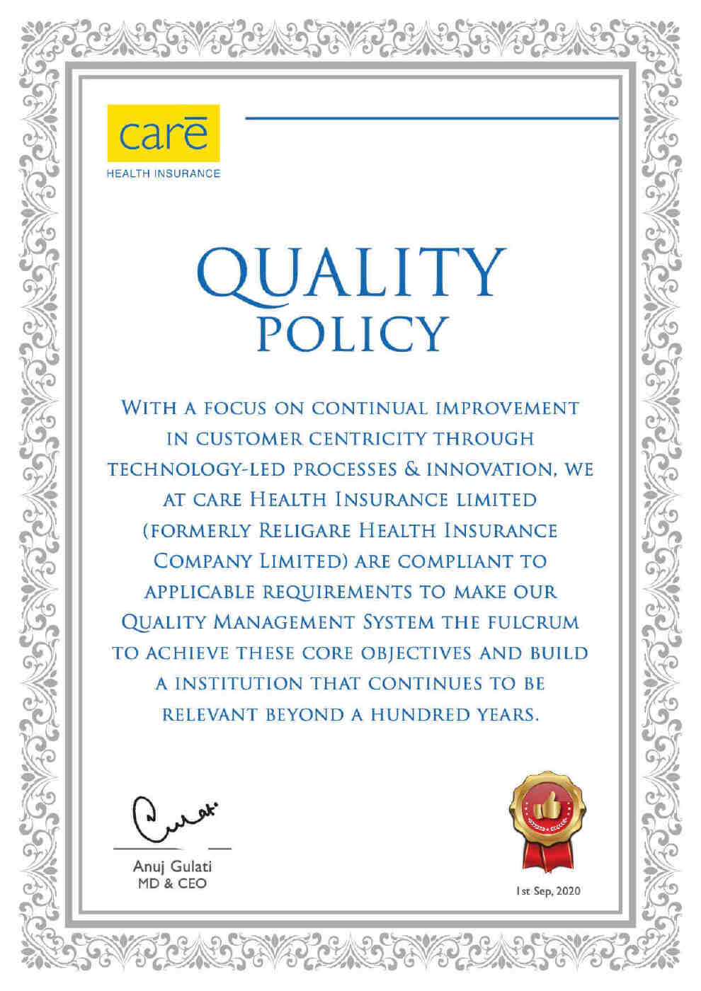 Quality Policy Religare Health Insurance